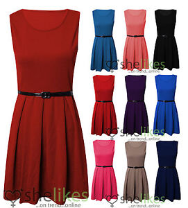 Womens-Sleeveless-Tailored-Skater-Dress-Ladies-Belted-Pleated-Party-Dress-Top