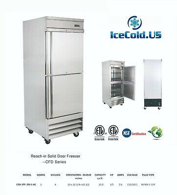 29 Reach-in Solid Door Upright 2 Door Commercial Freezer Stainless Steel