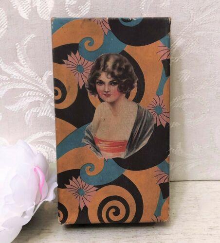 Antique Art Deco Cardboard Candy Box c 1920s Flapper Lady Spirals Orange Vintage