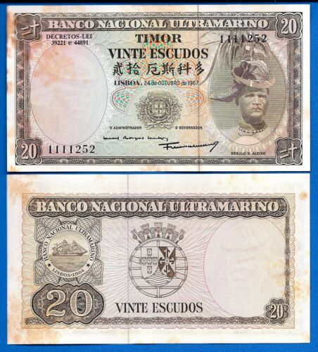 Timor P-26 20 Escudos Year 24.10.1967 (AU) A/Uncirculated Banknote
