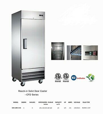 New Single Solid Door Cooler Stainless Reach-in Refrigerator 23 Cu Ft