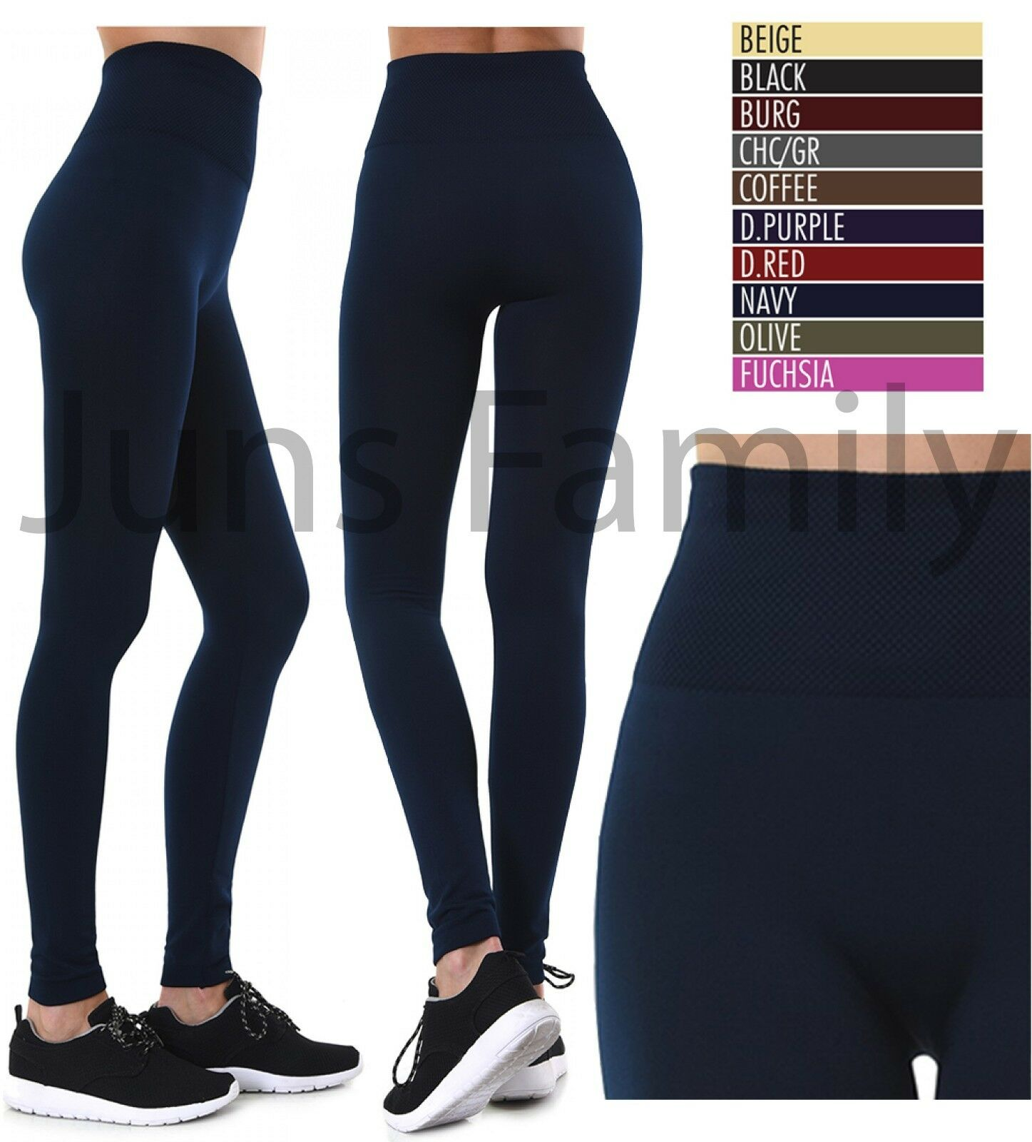 Leggings - Women NEW EXTRA WIDE BAND High Waist Tummy control Fleece Thick Warm Leggings