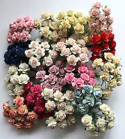 10 Papel De Morera Flores Rosa 15mm Con Alambre Tallos Para -  - ebay.es