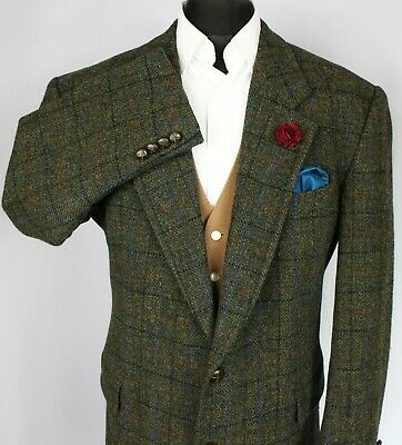 Harris Tweed Blazer Jacket Green 44R AMAZING COLOURS 3011