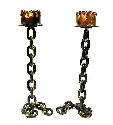 """Pair of Painted Metal 16"""" Gothic Steampunk Chain Link Candle Stick Holders B6813"""