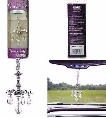 Decorative Mini Chandelier w/ Crystals Rear View Mirror Ornament Car Accessory - Mirror Ornaments