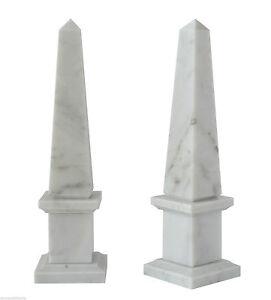 Obelisco-in-Marmo-Bianco-Carrara-White-Marble-Obelisk-Classic-Home-Design-H-30CM