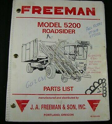 Freeman 5200 Roadsider Hay Baler Bale Retriever Stacker Wagon Parts Manual Book