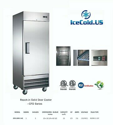 29 Reach-in Solid Door Upright Commercial Refrigerator Stainless Steel Cooler