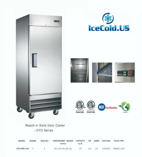 """29"""" Reach-In Solid Door Upright Commercial Refrigerator Stainless Steel Cooler"""