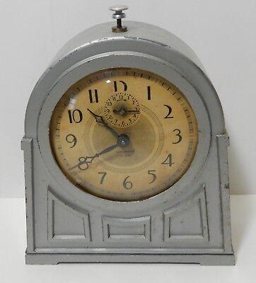 ANTIQUE NEW HAVEN ART DECO GREY SILVER METAL ALARM CLOCK Works