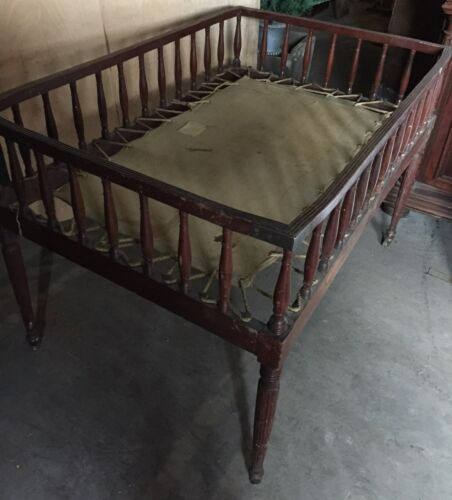 RARE ANTIQUE CHILD BED FRAME MOVIE PROP ROLLING HOSPITAL FOLDING