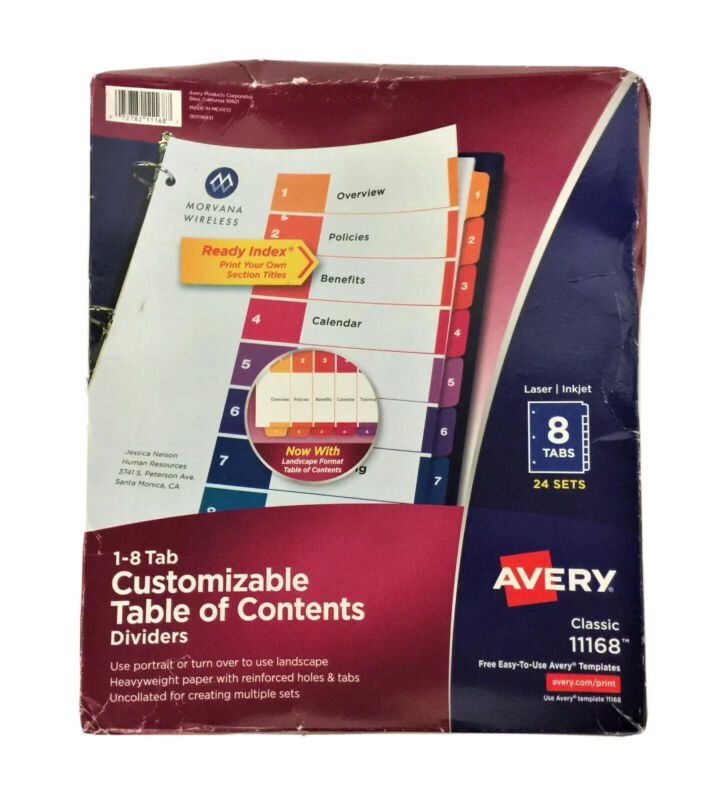 Avery Ready Index Numeric Divider, 8-Tab, Multicolor, 24 Sets/Box, 11168