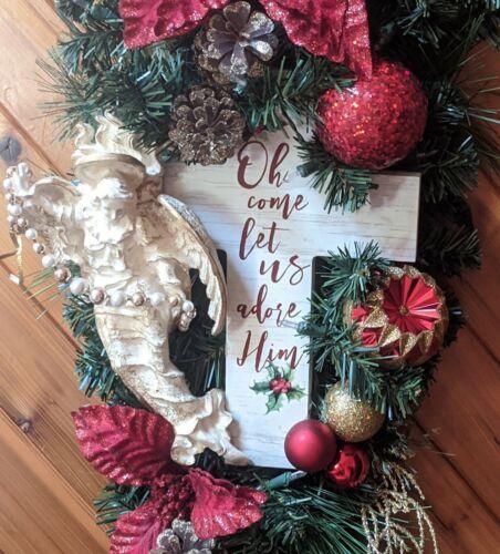 Christmas Wreath Angel Religious Decor Wall Door Centerpiece LED Lights