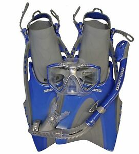 Sea-Doo-Blue-Snorkeling-Set-Snorkel-Mask-Bag-Fins-Size-Mens-4-8-5-Women-5-9-5