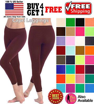 Seamless Capri Leggings - WOMEN SEAMLESS ONE SIZE STRETCH SPANDEX YOGA PANTS OPAQUE CAPRI LEGGINGS JEGGING