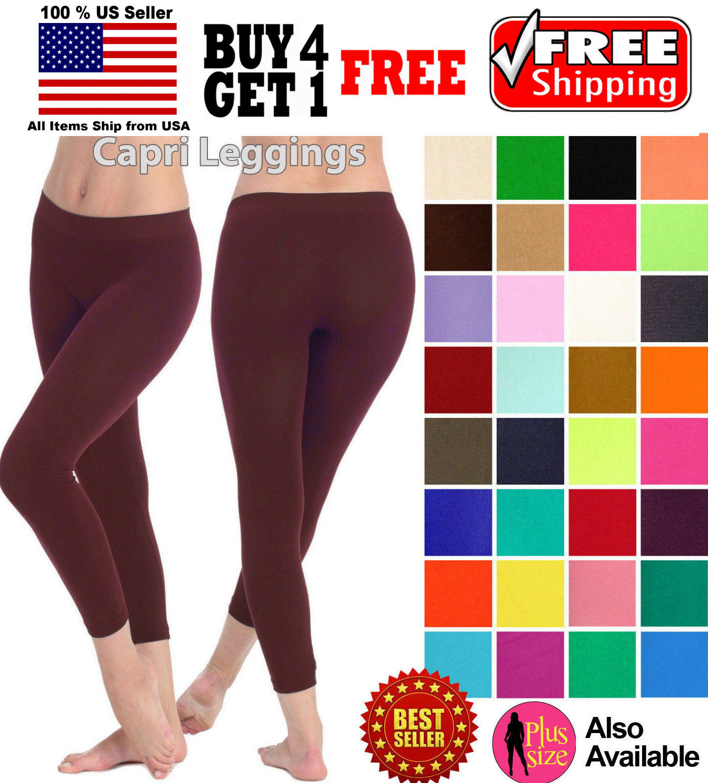 WOMEN SEAMLESS ONE SIZE STRETCH SPANDEX YOGA PANTS OPAQUE CAPRI LEGGINGS JEGGING Clothing, Shoes & Accessories