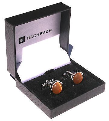 BACHRACH Cufflinks Cuff Links - Silver with Round Garnet Citrine Stone - NEW (Link Silver Cufflinks)