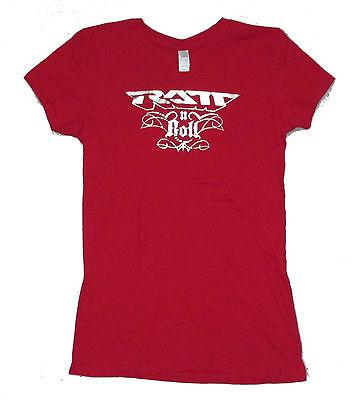 RATT RATT N ROLL SILVER FOIL LOGO GIRLS JUNIORS RED T SHIRT XL NEW OFFICIAL