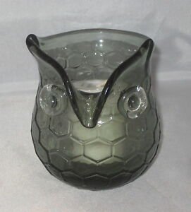 OWL-Votive-Candle-Holder-New-Glass-Tea-Light-Chesapeake-Bay-Grey-Bird