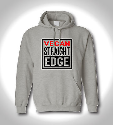 Hoodie grau Motiv vegan Straight Edge, Größe S bis 2XL