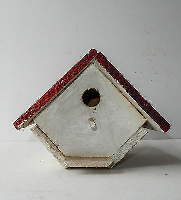 Vintage Wren Bird House Wood Painted White Red