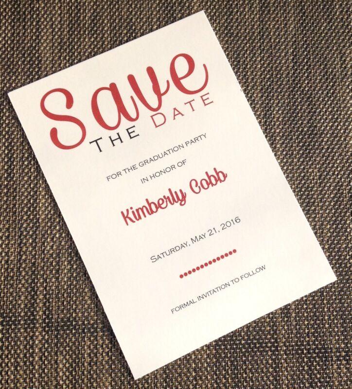 RED BURGUNDY GRADUATION SAVE THE DATE INVITATION