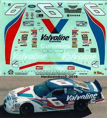 NASCAR DECAL # 6 VALVOLINE 1997 FORD THUNDERBIRD MARK MARTIN  - 1/24 - SLIXX