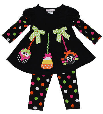 Bonnie Jean Girls Owl Spider Halloween Fall Dress Outfit Legging  Set 12 18 24 - Halloween Outfit 18 24 Months