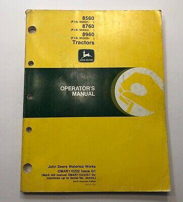 John Deere 8560 8760 Tractor Operators Manual Original Omar109479