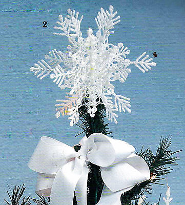 White Christmas Snowflakes Tree Skirt Topper Icicles Thread Crochet Pattern Bok