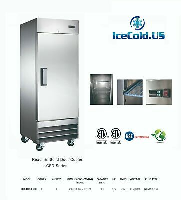 Reach-in Solid Door Commercial Refrigerator Cfd-1rr-e-hc Stainless Cooler