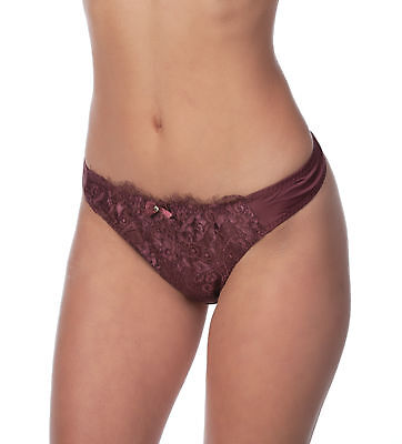 (Alegro Lingerie Womens Floral Jewel Lace Overlay Thong Panty Underwear 9001C)