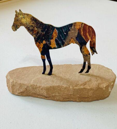 Metal Laser Cut Horse on Rock Sculpture
