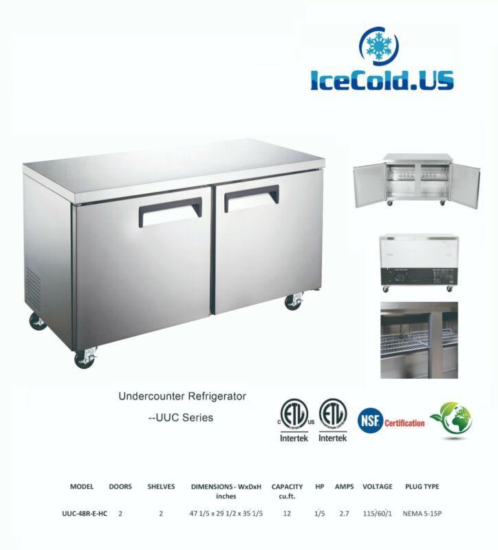 """Counter Work Top Commercial Cooler Under Counter Refrigerator 2 Door 48"""""""