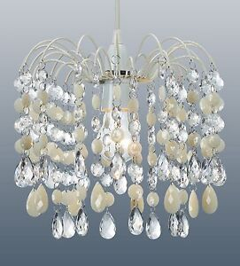 CREAM  AND CLEAR ACRYLIC CRYSTAL DROPS CHANDELIER CEILING LIGHT SHADE PENDANT