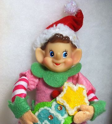 Pink Felt Pixie / Elf Christmas Tree Ornament, Knee hugger  candy sweet theme