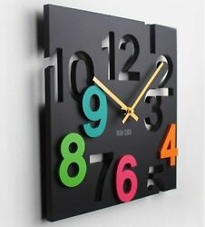 Dimensional space! Wall clock clocks wall clock solid rectangular design (black)