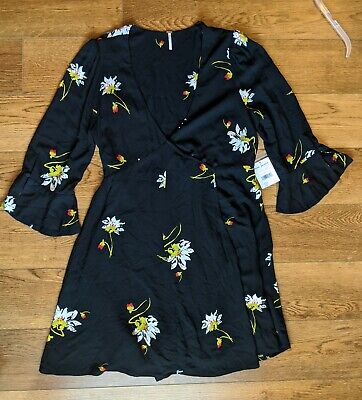Free people anthropologie Womens On My Time Black Wrap Dress NWT Large