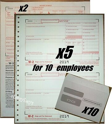 2019 Irs Tax Forms Kit W-2 Wage Stmts Carbonless 10 Employeesenvelopes2w-3