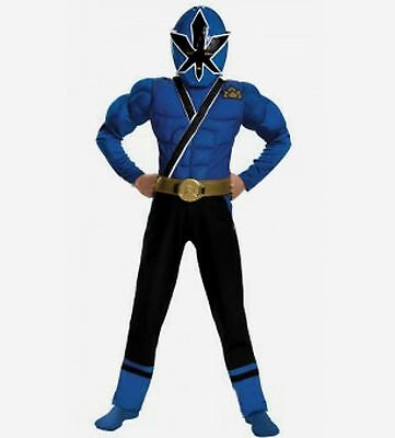 Power Rangers Samurai Blue Ranger Muscle Costume Size 10-12 Large New Child