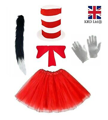 Girls CRAZY CAT TUTU COSTUME Childs Book Week Fancy Dress In The Hat Outfit Kids