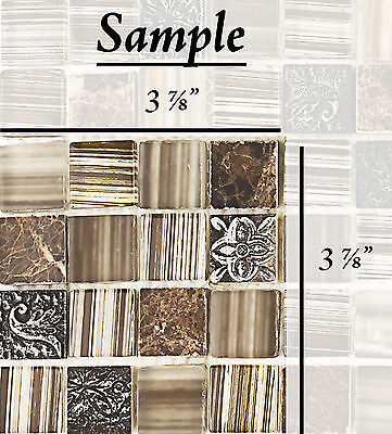 SAMPLE Resin Stone, Brown Marble, Polished & Frosted Glass Mosaic Backsplash
