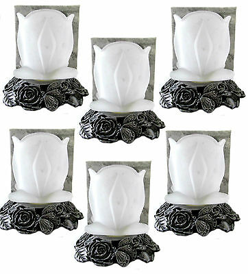 Metal Roses Base Tealight Candle Holder Frosted Rose Flower Glass Shade Lot of (Candle Shades Wholesale)