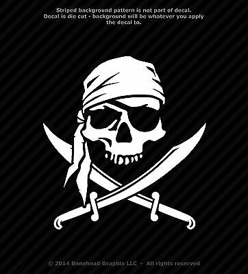 Pirate Skull & Cross Swords Jolly Roger Vinyl Decal Sticker Warning - 25 Colors (Pirate Stickers)