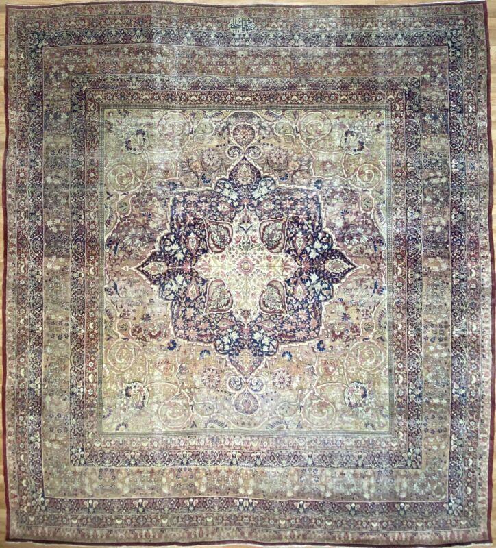 Fantastic Floral - 1880s Antique Oriental Rug - Handmade Carpet - 11.4 X 12.6 Ft