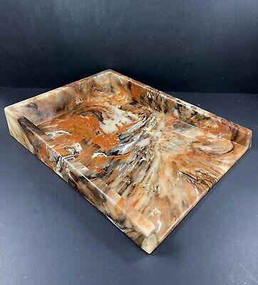 Mid Century Modern Desk Organizer File Letter Paper Tray Holder Resin Plastic