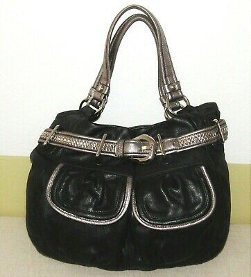 B MAKOWSKY LARGE HOBO SHOULDER BAG BUCKLE BLACK/METALLIC GENUINE LEATHER GUC