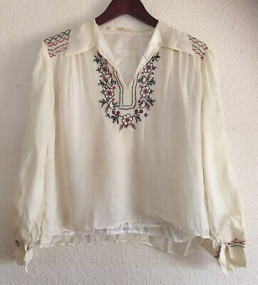 Romanian Peasant Blouse (Vtg Romanian Peasant Top Blouse Embroidered Floral 70s Hippie Boho S M  )