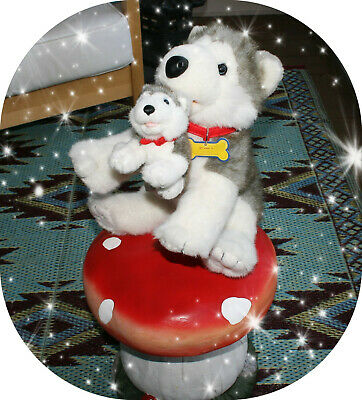 Build A Bear Siberian Husky Mom and Baby Gray Wolf Dog 15